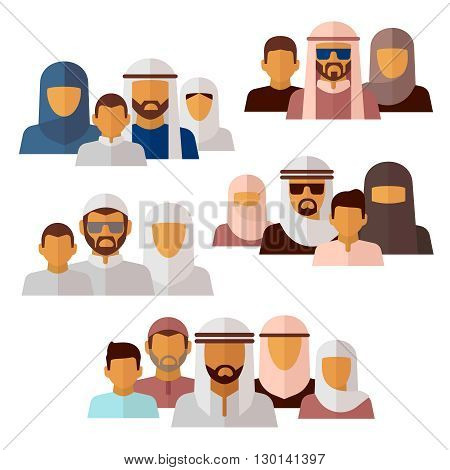 Arabian, muslim, middle eastern family icons. Family muslim and  arabian family parent mother father and boy illustration