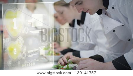 Illustration of numbers on heart shape against culinary class in kitchen making salads