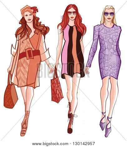 Fashion women defile - vector illustration