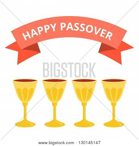 Happy passover with four grail no background