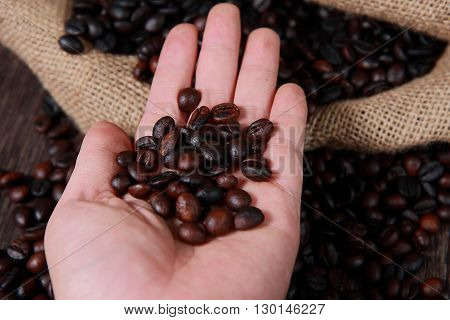 Hand showing dark roasted coffee beans with blurred coffee beans and gunny sack texture on background