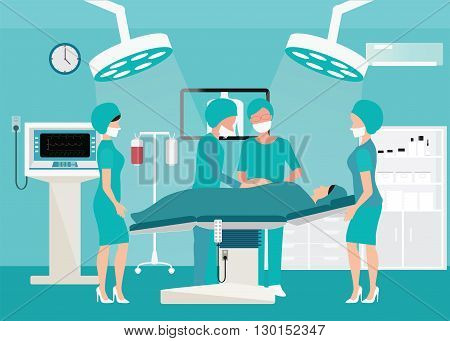 Mecial team delivering baby in operation room interior at the hospital with medical equipment Medical hospital surgery vector illustration.