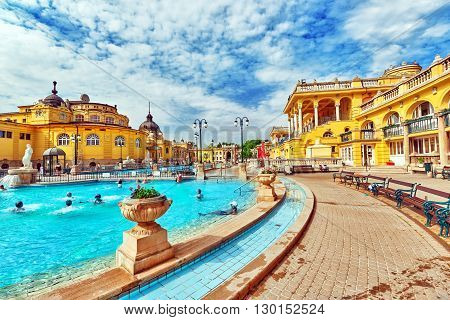 BUDAPEST , HUNGARY - MAY 05, 2016: Courtyard of Szechenyi Baths Hungarian thermal bath complex and spa treatments.