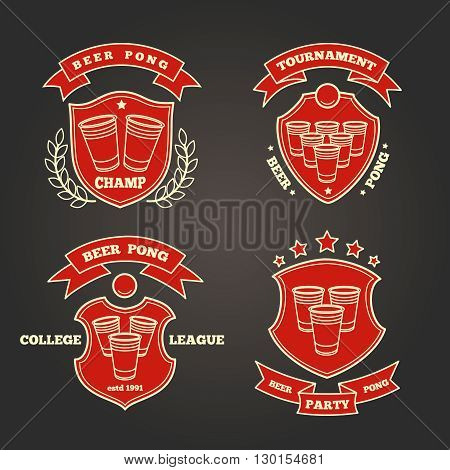 Thin line beer pong signs for beer pong party or beer pong tournament. Vector illustration