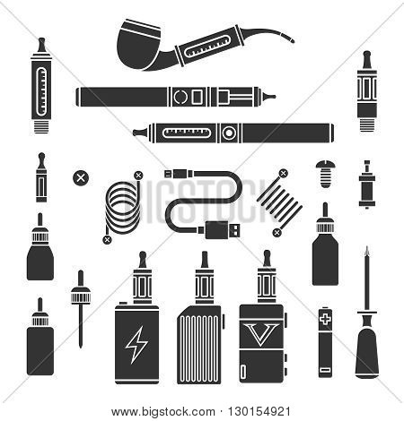 Vaping icons. Vape signs and vapor symbols, e-cigarette pictograms and vaporizer icons. Vector illustration