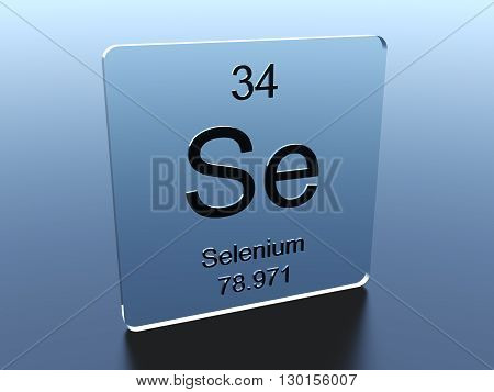 Selenium symbol on a glass square 3D render
