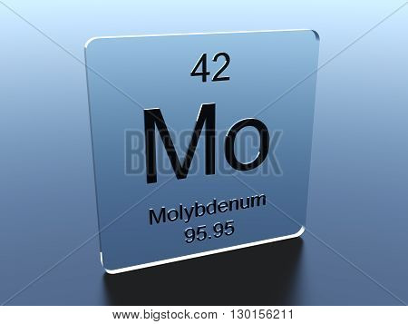 Molybdenum symbol on a glass square 3D render
