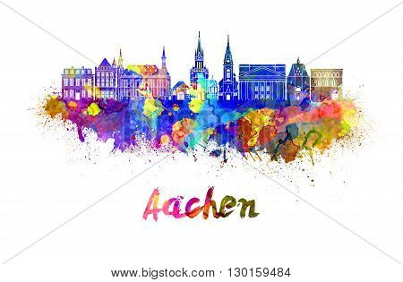 Aachen skyline in watercolor splatters with clipping path