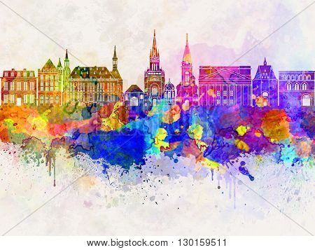 Aachen skyline in watercolor background artistic abstract