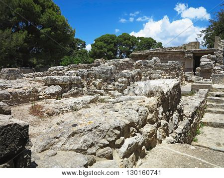 Ruins of the Minoan Palace of Knossos in Heraklion Crete Greece