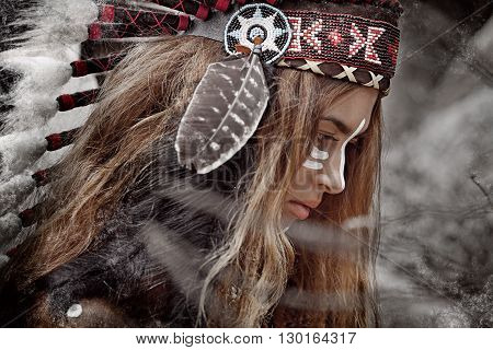 Indian woman hunter. Attractive tribal girl outdoors portrait