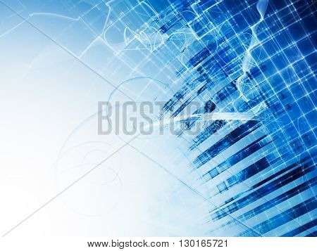 Abstract background element. Fractal graphics series. Composition of distorted grid and random fractal effects. Information technology concept. Blue and white colors.