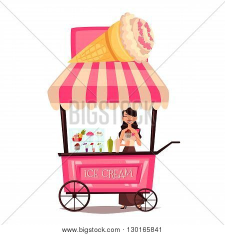 Fast food ice cream cart, cartoon set isolated on a white background, street selling ice cream, comic girl street vendor ice cream