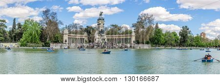 MADRID,SPAIN - APRIL 24,2016 - Panorama view at the Monument to Alfonso XII of Spain in Madrid.The Monument to King Alfonso XII is located in Buen Retiro Park (El Retiro)in Madrid.