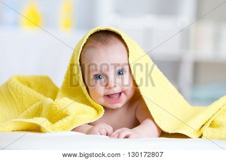 Happy baby infant after shower or bath time