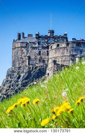 Edinburgh Castle With Spring Meadow In Scotland