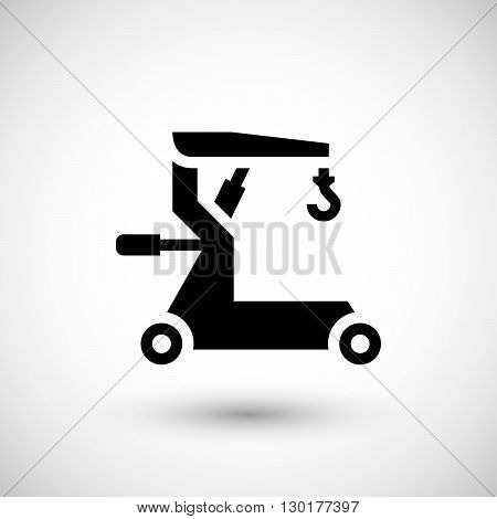 Mobile hoist icon isolated on grey. Vector illustration