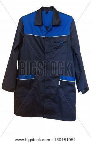 Dark blue cotton smock with large pockets. Isolated on white backgrround