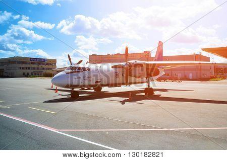 SAINT PETERSBURG RUSSIA - MAY 11 2016. Pskov Avia Airlines Antonov An-24PB airplane -registration number RA 26086. Airplane is parked at Pulkovo International airport