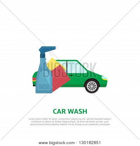 Car wash web banner in flat style. Vector background with car, detergent product, napkins.