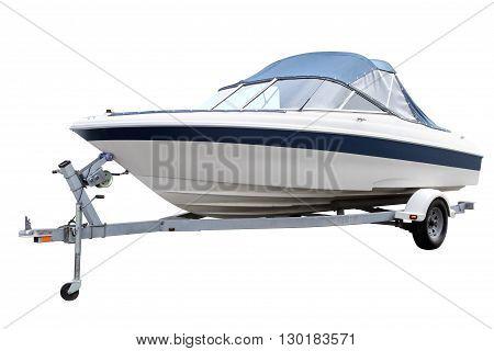 Modern motor boat loaded on the trailer for transportation.