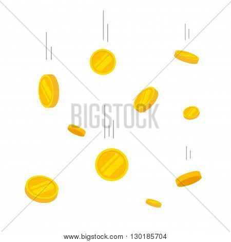 Coins falling vector illustration, falling money, flying gold coins, abstract coins dropping golden rain concept modern flat cartoon design isolated on white background