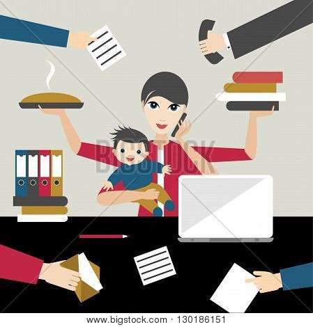 Working mother with child in business offiice. Multitasking person. Flat vector.