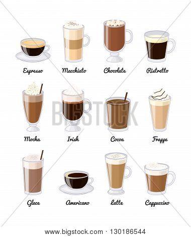 Different coffee drinks isolated on white background. Espresso, macchiato, chocolate, ristretto, mocha, irish, cocoa, frappe, glace, americano, latte, cappuccino.