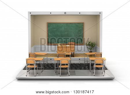Webinar concept. Chalkboard with teacher desk in the laptop screen and school desk on the keyboard. 3d illustration