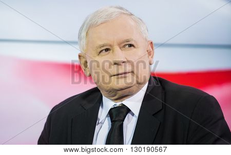 Warsaw Poland - March 25 2015: Portrait of Jaroslaw Kaczynski former polish prime minister and chairman of the Law and Justice party (PiS)