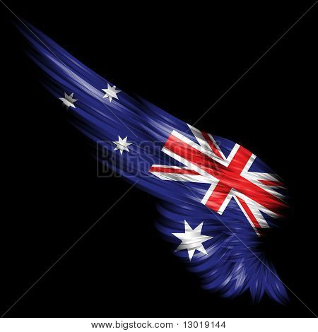 Abstract Wing With Australia Flag On Black Background