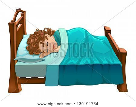 Boy is sleeping on his bed. Vector cartoon isolated scene.