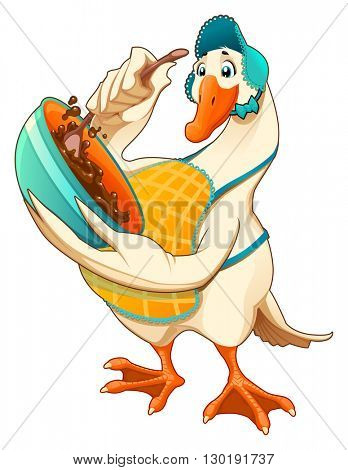 Funny goose are blending a chocolate sweet. Cartoon vector isolated character.