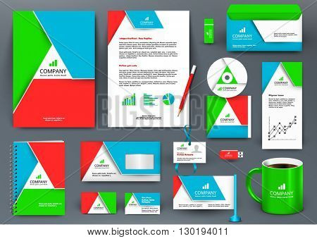 Professional colorful universal branding design kit with origami element. Corporate identity template, business stationery mock-up for real estate company. Editable vector: folder, mug, etc.