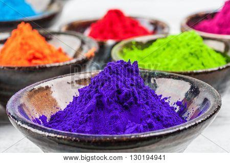 Purple Colorful Dye Powder For Holi Indian Festival
