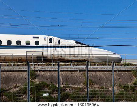 Nagoya, JAPAN - May 02, 2016 : A Shinkansen bullet train in Japan on May 02, 2016 in Nagoya, Japan.