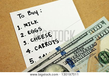 Shopping list written on paper for buying groceries on budget 200 dollars