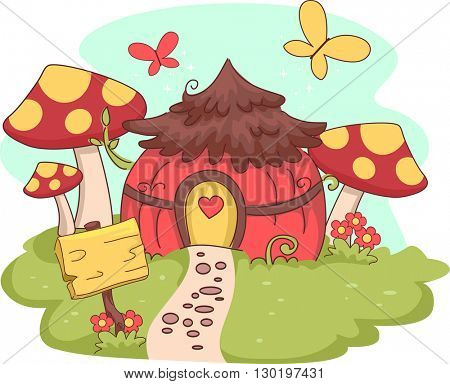 Whimsical Illustration of a Fairy House