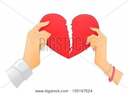 Illustration of a Couple Ripping a Heart Apart