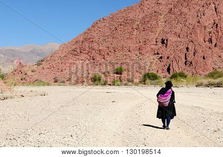 South America the woman in the ethnic dress is coming back of the shopping to the village being on a desert in the Bolivian Andes