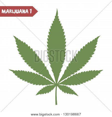 Marijuana leaf. Medical cannabis leaf isolated on white. Graphic design element for web, prints, t-shirt. Vector illustration.