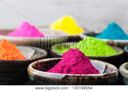 Colorful Holi Powder In Cups.