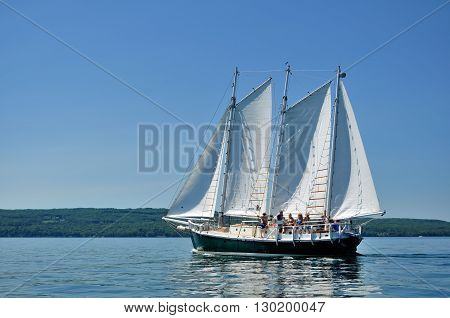BAYFIELD WI - July 7 2012: Schooner Sailboat Sailing on a Beautiful Summer Day