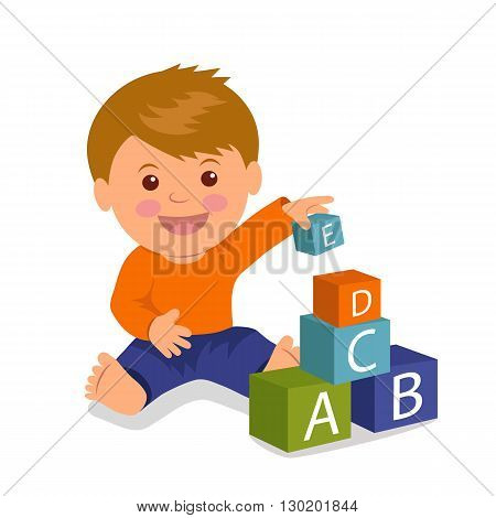 Cheerful toddler sitting collects a pyramid of colored cubes. Concept development and education of young children. Isolated vector illustration of a boy playing with colored cubes.