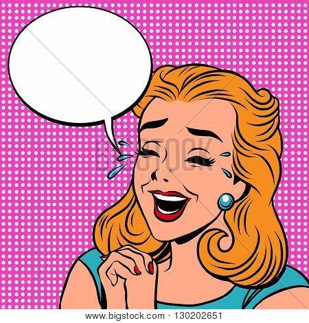 Emoji retro laughter joy joke girl emoticons. Pop art vector illustration. Emoji woman. Emotions girl face. Retro Emoji girl