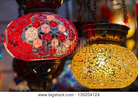 Traditional stained glass oriental lampshades in a shop in Plaka district in Athens Greece