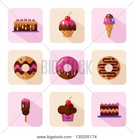Vector flat style icons of sweets and candies products. Dessert icons set. Donut with glaze, cake, ice cream, muffin with cherry. Different types of donuts, ice creams and muffins.