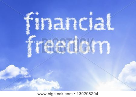 Financial Freedom cloud word with a blue sky
