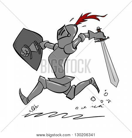 A cartoon knight running with sword in hand to fend off a dragon or an invading army.