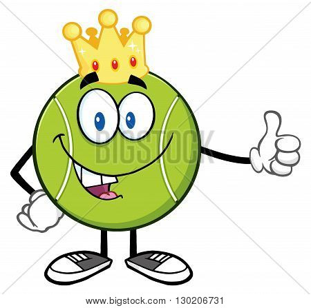 King Tennis Ball Cartoon Mascot Character Giving A Thumb Up